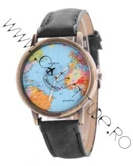 Ceas Unisex cu Avion si Cadran harta lumii Mapamond Black