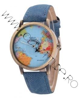 Ceas Unisex cu secundar Avion si Cadran harta lumii Blue