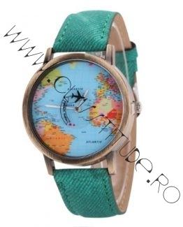 Ceas Unisex cu secundar Avion si Cadran harta lumii Green