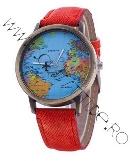 Ceas de Dama sau Barbatesc cu Avion si Harta Lumii Red
