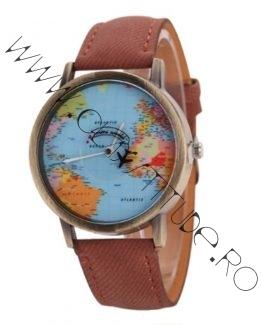 Ceas de Dama sau Barbati cu Avion si harta lumii Brown