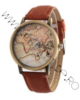 Ceas de mana cu Harta Lumii si secundar Avion Maro