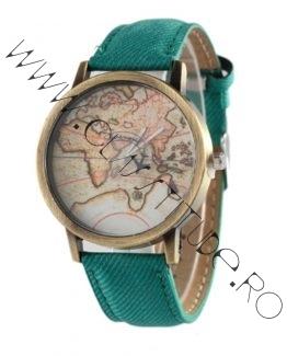 Ceas de mana cu Harta Lumii si secundar Avion Verde