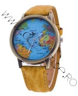 Ceas de Dama sau Barbatesc cu Harta Lumii si Avion Galben