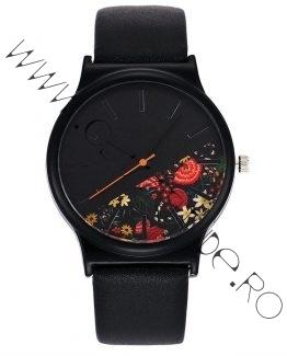 Ceas de Dama Floral cu Curea din Piele Ecologica Neagra