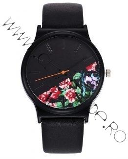 Ceas de Dama cu Flori si Curea din Piele Ecologica Neagra