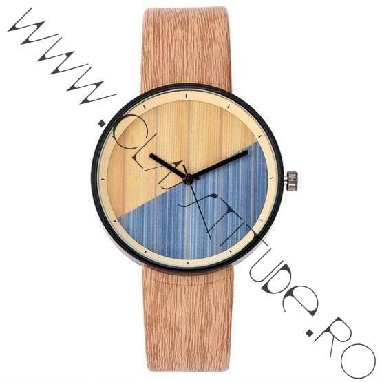 Ceas de Dama sau Barbatesc print Lemn curea Piele Eco Bej