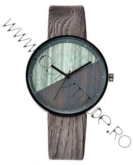 Ceas de Dama sau Barbatesc print Lemn curea Piele Eco Gri