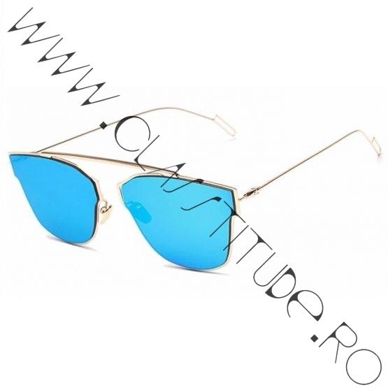 Ochelari de Soare Dama rama Gold reflexie mirror Blue
