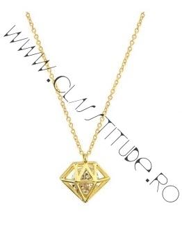 Lantisor cu Charm tip Diamant din Otel Placat 24k Auriu