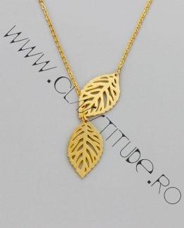 Lantisor cu Talisman cu Frunza din Inox Placat 24k Auriu
