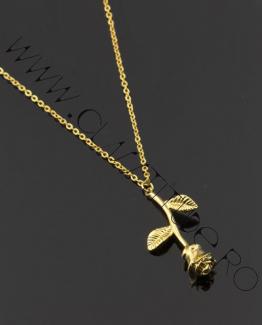 Lantisor din aliaj cu Pandantiv Floare de Trandafir Gold