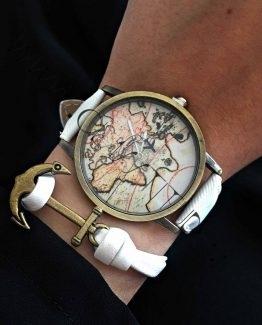 Set Ceas Harta Lumii cu Avion si Bratara cu Ancora Alb