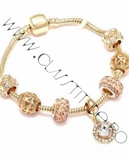Bratara cu Charms tip Pandora Cristale tip Swarovski Gold M