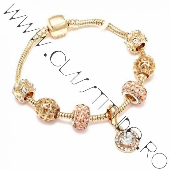 Bratara cu Charms tip Pandora Cristale tip Swarovski Gold S