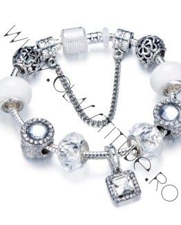Bratara tip Pandora Charms Cristale tip Swarovski marime S Argintiu