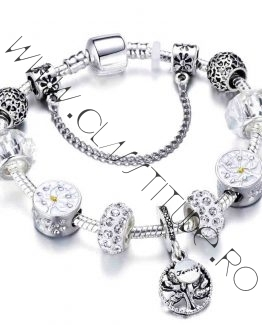 Bratara tip Pandora cu Charm Copacul Vietii marime M Argintiu