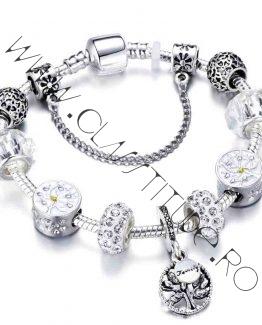 Bratara tip Pandora cu Charm Copacul Vietii marime S Argintiu