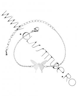 Bratara tip Pandora cu Pandantiv Fluture Argintiu