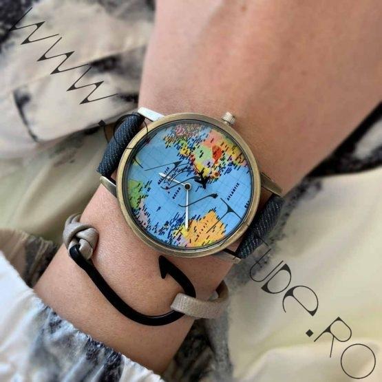 Set Ceas Harta Lumii cu Avion si Bratara cu Carlig Black