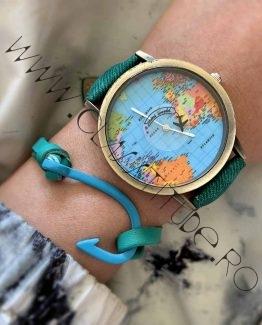 Set Ceas Harta Lumii cu Avion si Bratara cu Carlig Verde