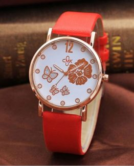Ceas pentru Fete cu fluturasi Rose si curea piele eco Red