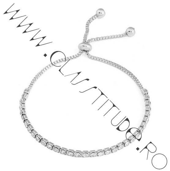 Bratara Tennis reglabila cu cristale tip Zirconiu Argintiu