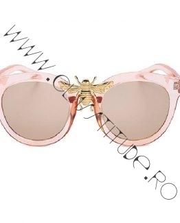 Ochelari de Soare Dama replica Gucci cu Albina Nude Roz