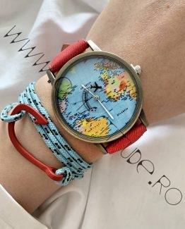 Set Ceas Harta Lumii cu Avion si Bratara cu Carlig Rosu