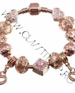 Bratara cu Charm tip Pandora Inimioare si Cristale Rose Gold 1