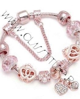 Bratara cu Charm tip Pandora cu Perle Inimioare Rose Gold 1