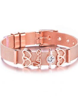 Bratara cu Charms tip Pandora Inimioare Love Rose Gold