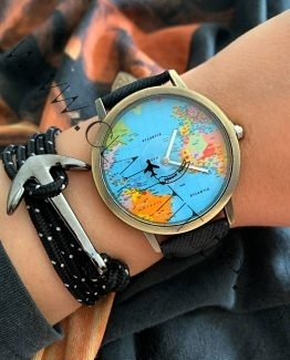 Set Ceas Harta Lumii cu Avion si Bratara cu Ancora Black