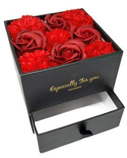 Cutie Gift Box bijuterii cu Trandafiri si Garoafe sapun Red
